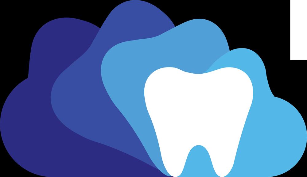 "Cloud Dentistry logo ""d"" in light blue and dark blue"